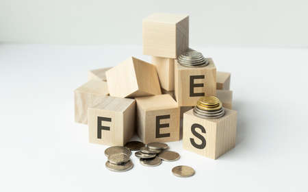 Coin stack and wooden blocks with the fee text. Fee Finance and Money concept. Archivio Fotografico