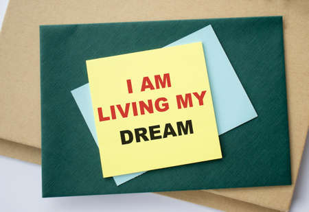 I am living my dream - positive affirmation words on a napkin
