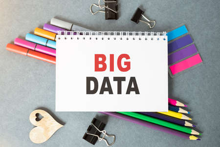Conceptual hand writing text caption inspiration showing Big Data. Business concept for Digital Business Analysis written on notebook with space on book background with marker pen