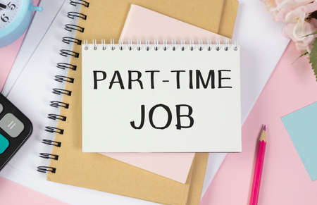 Conceptual hand writing showing Part Time Job. Business photo text Weekender Freelance Casual OJT Neophyte Stint Seasonal Open notebook jute background colorful markers Expressing ideas. Standard-Bild