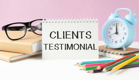 Word writing text Client Testimonials. Business concept for Written Declaration Certifying persons Character Value Stock Photo