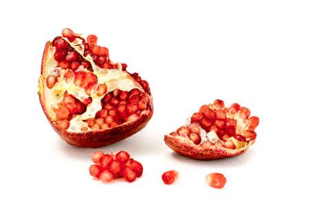 garnets: Juicy pomegranate on white background Stock Photo
