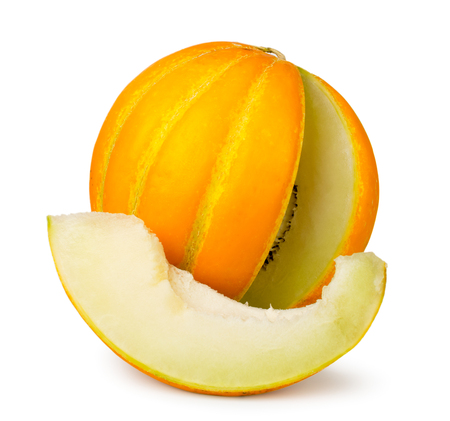 Ripe melon with cut slice close-up on a white. Isolated Standard-Bild