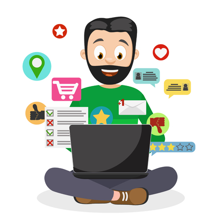 A man uses a laptop and fly around him icons associated with the computer on a white background. Illustration
