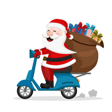 Santa Claus carries a scooter bag with gifts on a white background. Ilustrace