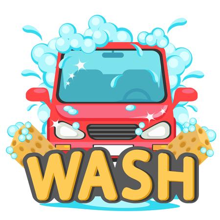 Car wash, auto in foam on a white.