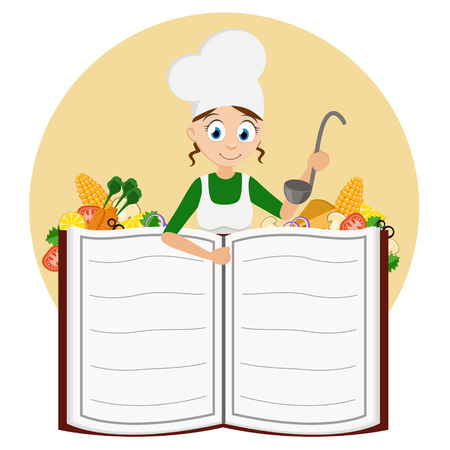 Cook girl with a ladle in her hands peeking out from behind a book on a white background. Vettoriali