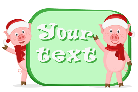 Two little pigs in Christmas costumes. Place for text. Illustration