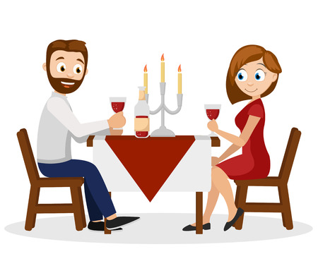 Man and woman have dinner at the table by candlelight. Romantic dinner for two.