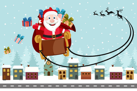 Santa Claus flies on a sleigh over the houses and throws gifts. Christmas card.