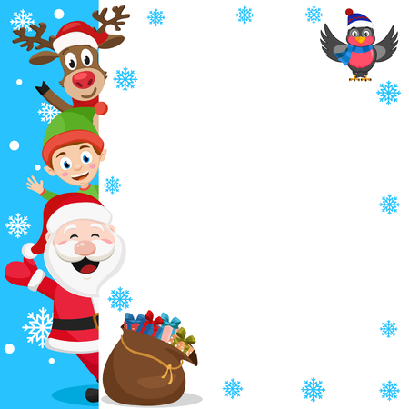 Santa Claus, Santa s helper and deer look out from behind the white background. Place for text.