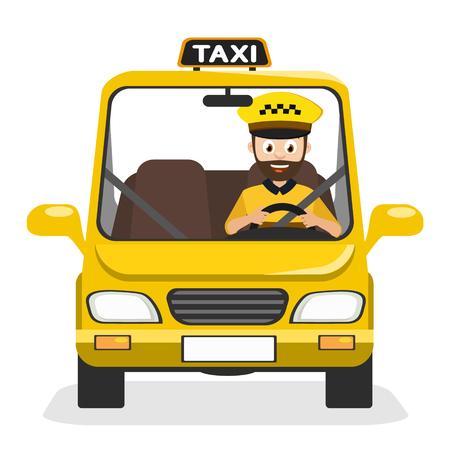 Conductor de taxi viaja en el coche de guardia sobre un fondo blanco.