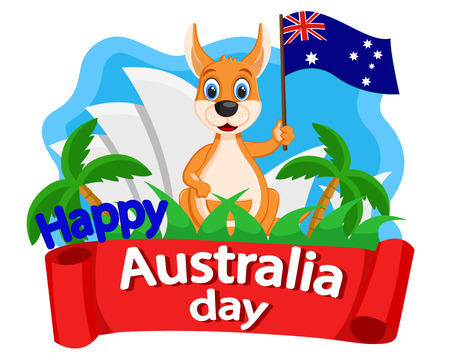 Kangaroo waving a flag on the background of the Opera. Australia day