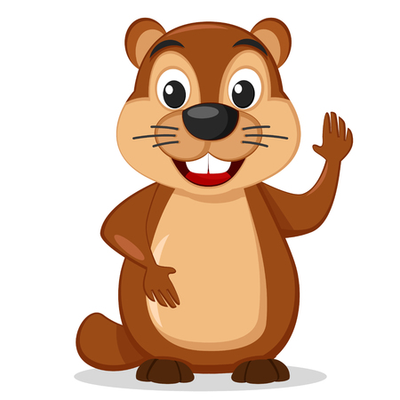 Groundhog stands on a white background smiling and waving his paw.