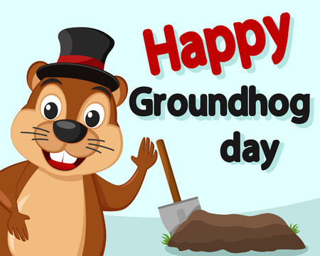 Groundhog in the hat Peeps out smiling and waving his paw.