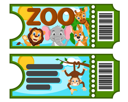 A ticket to the zoo with wild animals on a white background.