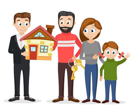 Le directeur a vendu la nouvelle maison à une jeune famille sur un fond blanc.
