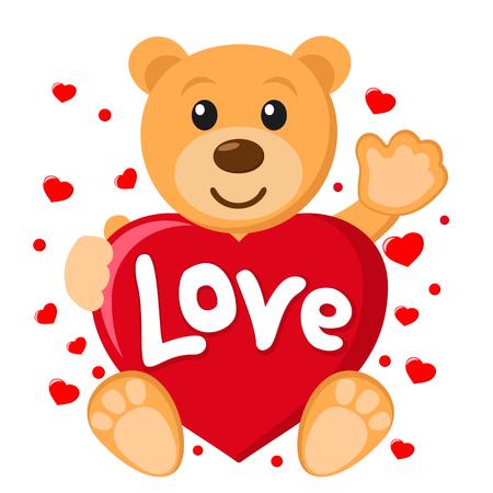 Ours en peluche tenant le coeur et agitant la patte sur un fond blanc.