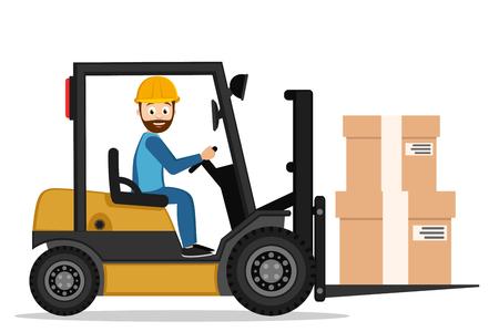 Fahrer auf einem Gabelstapler trägt Kisten auf weißem Hintergrund. Vektorgrafik