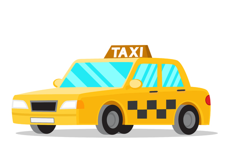 Yellow taxi car on a white background. Transport Illustration