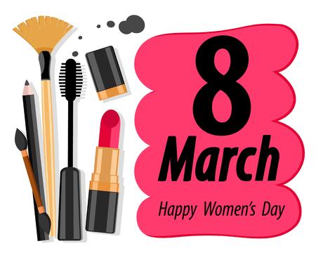 Womens cosmetics and congratulatory inscription March 8 Happy Womens Day on a white. Фото со стока