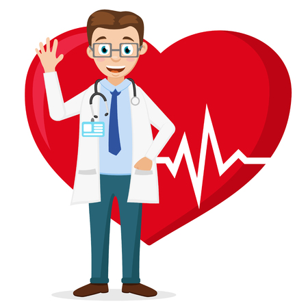 The cardiologist smiles and waves his hand against the background of a healthy heart.