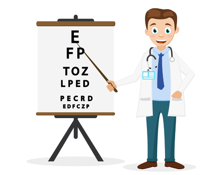 Doctor ophthalmologist shows a pointer to the text on a white background. Eye examination.