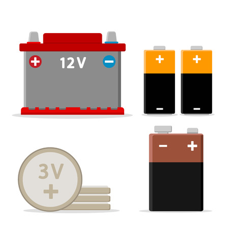 Car battery and batteries on a white background.
