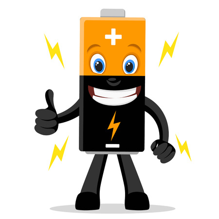 Finger battery smiles and shows like on a white background. Vektoros illusztráció