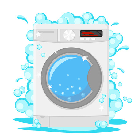 Machine à laver avec de la mousse de savon sur un blanc.