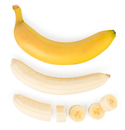 Set of ripe banana, pulp and pieces on a white. The form of the top.