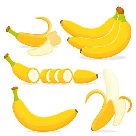 Set a bunch of ripe bananas, peeled and peel on a white background.