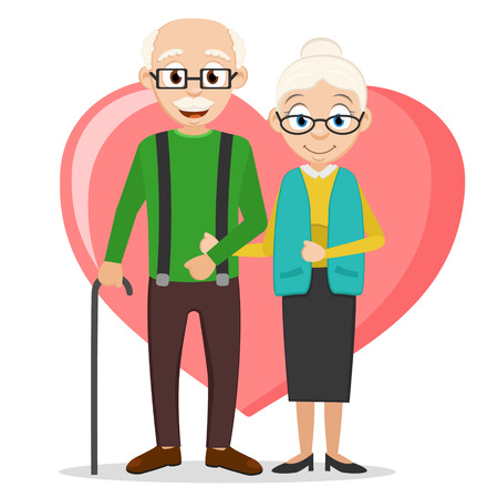 Grandparents stand under the handle on the background of the heart on.