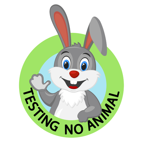 Not tested on animals logo, hare smiling and waving his paw on white.