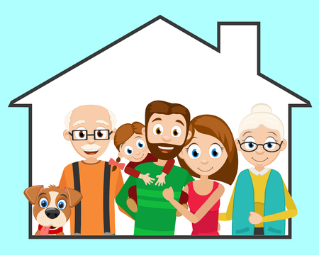 Happy friendly family and a dog in his house. Logotype Banque d'images - 125051430