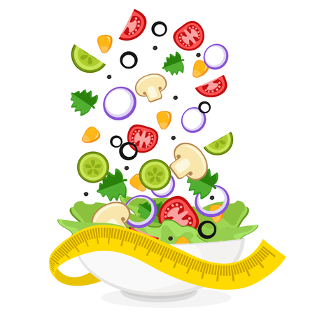 Fresh vegetables fly into a salad plate on a white background. Healthy diet. Ilustração