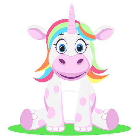 Unicorn with multicolored hair sits on a white background.