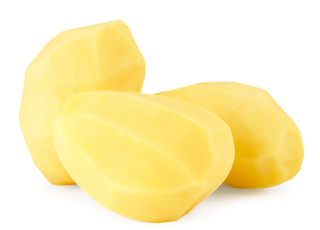 Peeled potatoes on a white background. Isolated.