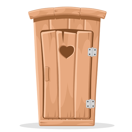 Wooden toilet with a carved heart in the door on a white. Standard-Bild - 119883923