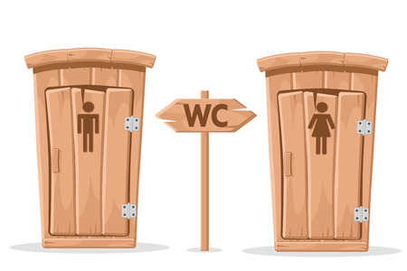 Male and female wooden toilet on a white. Standard-Bild - 119884028