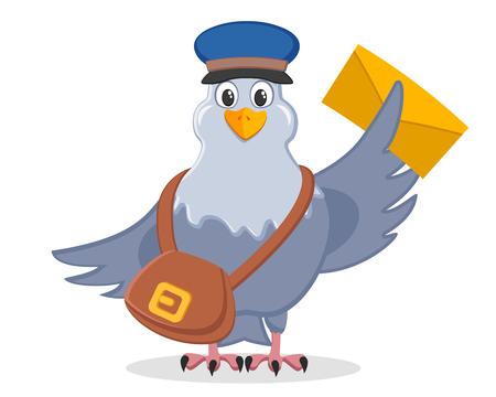 Paloma mensajera en un sombrero con una bolsa y una letra en las alas sobre un fondo blanco.
