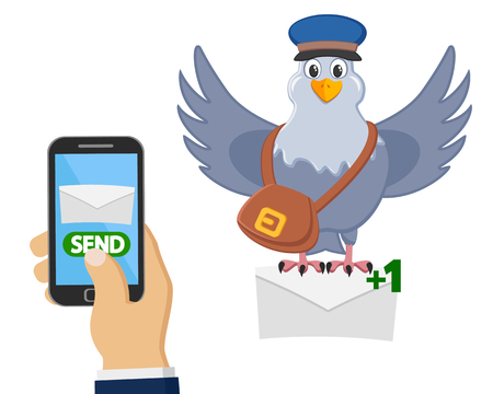 Carrier pigeon delivers a letter from a mobile phone on a white background.