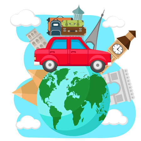Car with suitcases on the roof travels around the planet earth, on a white background. Zdjęcie Seryjne - 124649846