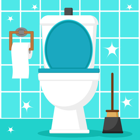 Clean toilet bowl with toilet paper and plunger on a blue tile background.
