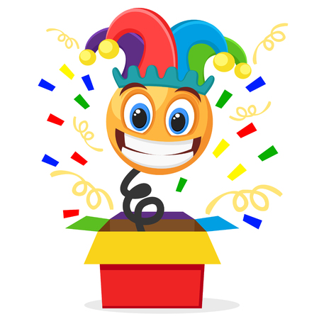 Cheerful smiley in a clown hat jumped out of the box on a white. April fool s day Ilustração
