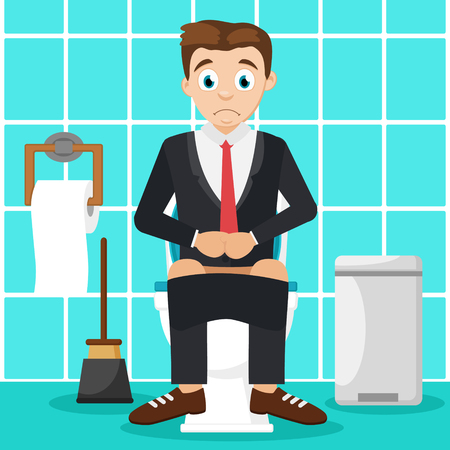 Man in a suit sitting on the toilet in the bathroom. Indigestion. Illustration