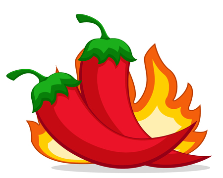 Two hot peppers and a flame of fire on a white.  イラスト・ベクター素材