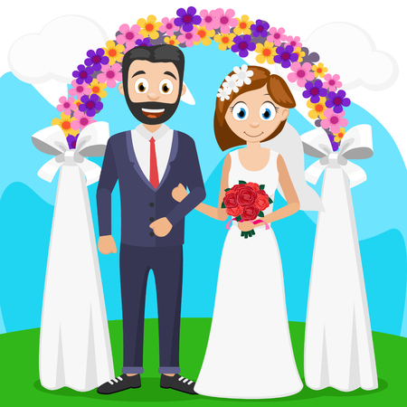 The bride and groom at a ceremony near the arch. Wedding Illustration
