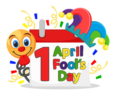 Calendar with greeting text wearing the hat of a clown and a smiley face on a white. April fool s day