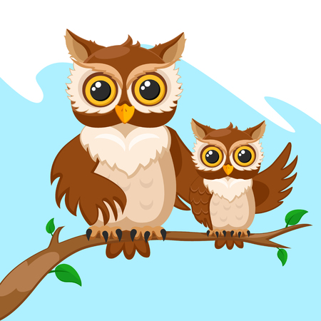 Owl and her baby owls sitting on a branch. Character Ilustrace